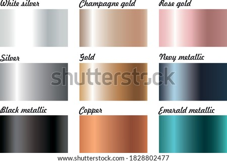 Metallic foil shiny illustrator linear gradient swatches. Gold, silver, copper, white, black, navy, emerald, rose gold, champagne gold