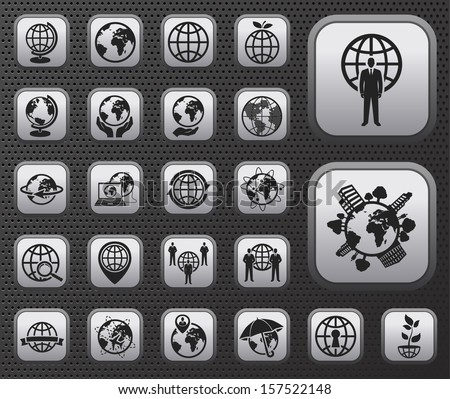 metallic globe earth vector web icons buttons set on dark background - Shutterstock ID 157522148