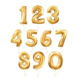 Metallic Gold Letter Balloons, 123 golden numeral alphabeth. Gold Number Balloons, 1, Alphabet Letter Balloon, 2, Number Balloon, 3 Air Filled Ball, numeral character