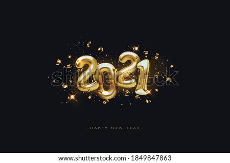 Metallic Gold Letter Balloons on black, 2021 Happy new year, Gold Number Balloons, Alphabet Letter Balloon, Number Balloon, Air Filled Ball