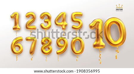 Metallic golden number balloons 0 to 9. Set of foil and latex balloons. Helium balloons. Party, birthday, celebrate anniversary and wedding. Realistic elements. Vector illustration Isolated on white.
