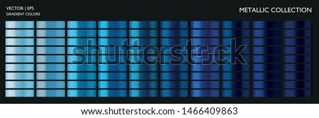 Metallic gradient. Blue color set. Dark and light blue palette. Holographic background template for screen, mobile, banner, label, tag. Vivid color gradient