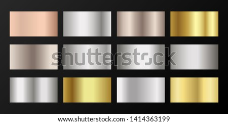 Metallic gradients vector set: golden, silver, platinum, bronze, pink gold. Shiny chrome, alloy, aluminum, titanium, copper, silver, rose gold, platinum, steel, bronze background swatches.