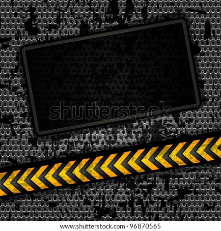 Metallic grunge background template, perforated iron sheet. Vector 10 eps
