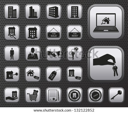 metallic houses and real estate vector web icons buttons set with reflections on dark background