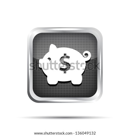 metallic icon with piggy bank on white background - stock vector