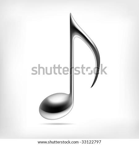 metallic music note sign music