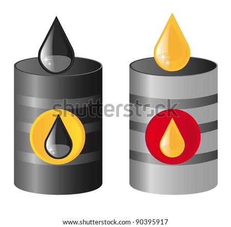 metallic oil barrels with raindrops. vector illustration