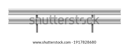 Metallic road barrier fence, realistic design isolated on white background. 3d roadblock for safety on highway. Vector illustration Stockfoto ©