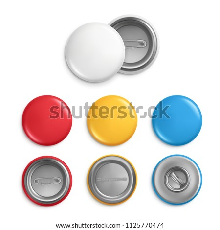 Metallic round badges. Realistic illustrations of blank badges. Vector button badge souvenir, knob round colored collection