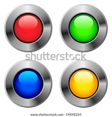 Metallic round button.