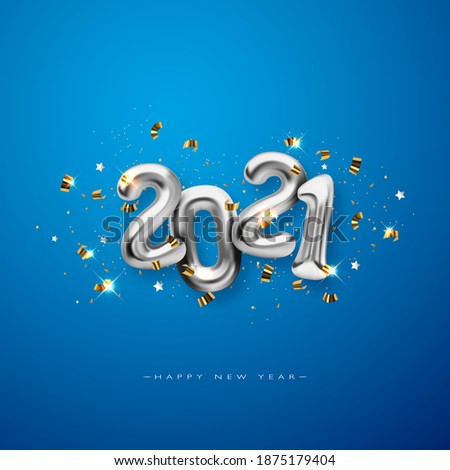 Metallic silver Letter Balloons on blue, 2021 Happy new year, silver Number Balloons, Alphabet Letter Balloon, Number Balloon, Air Filled Ball
