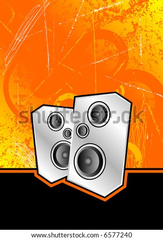 metallic silver speakers set against an orange scratched grunge background