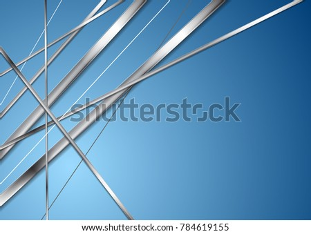 Metallic silver stripes on bright blue background. Technology abstract vector graphic design #784619155