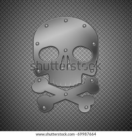 metallic skull. abstract background. vector illustration.