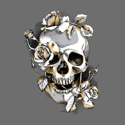 Metallic Skull with a gold Roses flowers on a gray background. Vector illustration.