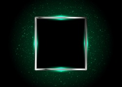 Metallic square framework with green neon lights. Glowing bokeh vector background
