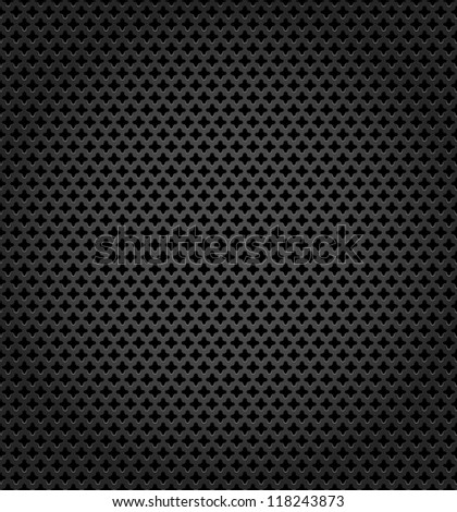 Metallic surface. Perforation textured template on black background.