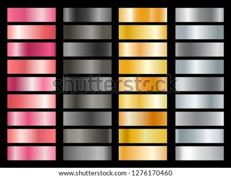 Metallic swatches. Black and pink metal, gold or silver gradient with glossy and matte texture, vector illustration