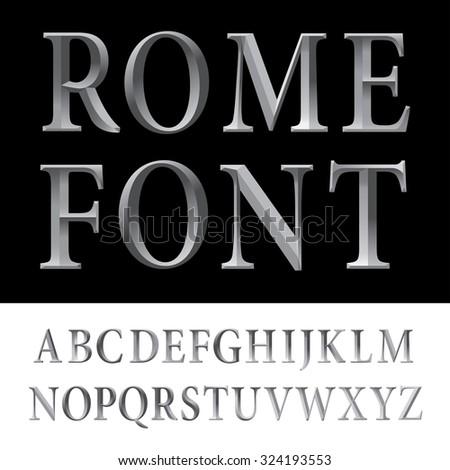 Metallic vintage vector font. #324193553