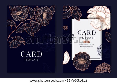 Metallic Wedding Invitation, floral invite thank you, rsvp modern card Design in Copper rose with leaf branches and Navy blue background decorative Vector elegant rustic template