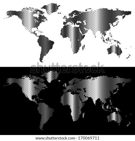 metallic world map  industrial