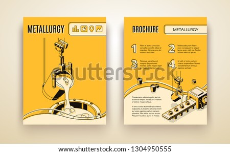 Metallurgical industry company, foundry manufacture isometric vector advertising brochure, promotion booklet with molten in induction furnace metal pouring from ladle in molds line art illustration