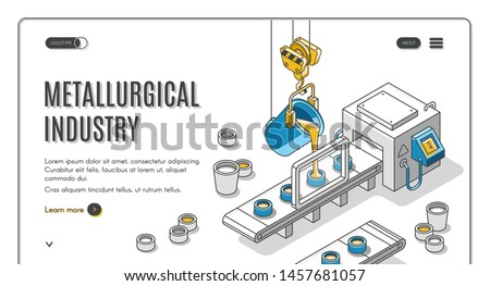 Metallurgical industry company isometric web banner with pouring molten metal from steel ladle in molds on conveyor belt. Modern foundry factory or plant 3d vector landing page template, line art