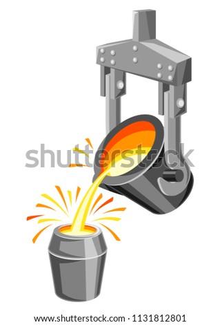 Metallurgical ladle illustration. Industrial equipment for casting metal.