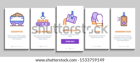 Metallurgical Onboarding Mobile App Page Screen Vector Thin Line. Factory Furnace, Metal Melting And Metallurgical Pipe Foundry Concept Linear Pictograms. Contour Illustrations