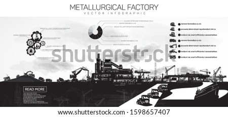 Metallurgical plant and various heavy machinery, infographics.