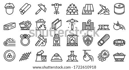 Metallurgy icons set. Outline set of metallurgy vector icons for web design isolated on white background