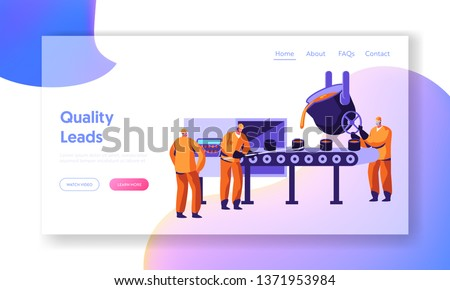 Metallurgy Industry Workers Smelting Metal in Big Foundry and Pouring Molten Steel or Iron Ore in Form During Smelting Process, Website Landing Page, Web Page. Cartoon Flat Vector Illustration, Banner