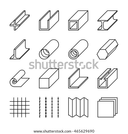 metallurgy products line vector