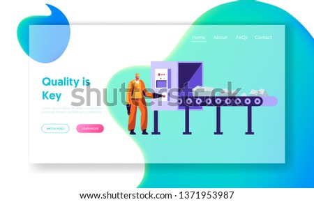 Metallurgy Worker at Conveyor Belt Carrying Raw Ore Material for Iron Processing on Factory. Metallurgical Industry Company Website Landing Page, Web Page. Cartoon Flat Vector Illustration, Banner