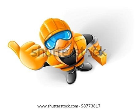 metalworker in helmet with suitcase vector illustration isolated on white background