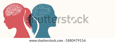 Metaphor bipolar disorder mind mental. Double face.Split personality. Concept mood disorder.2 Head female silhouette. Psychology. Dual personality concept.Mental health.Untangle and brain