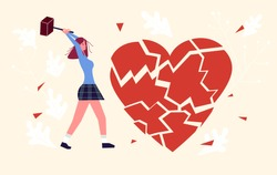 Metaphor of betrayal, unhappy love and broken heart. Girl by hammer breaks the heart into splinters. Flat Art Vector Illustration
