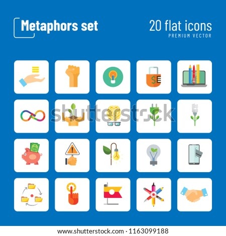 Metaphors vector icon set. Money rain, bread, stop sign, idea. Metaphor concept. Can be used for topics like creativity, business, finance, environment, lifestyle
