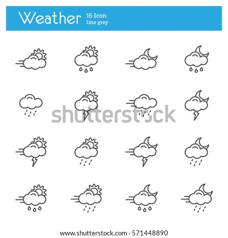 Meteo line icons, Weather line icons, Meteorology line icons