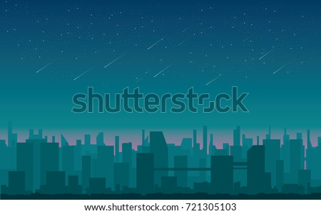 meteor shower over city vector