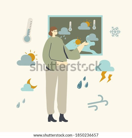 Meteorological Report Concept. Tv Presenter Female Character Stand at Screen with Meteorology Map Forecast Weather. Anchorwoman Presenting Monitor with Weather Information. Linear Vector Illustration Foto stock ©