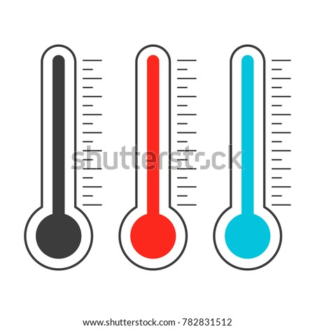 Meteorological thermometer shows heat and cold. Device for measuring high and low temperatures. Vector flat illustration.