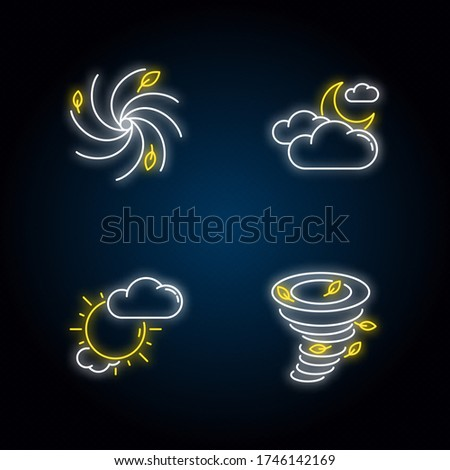 Meteorological warning neon light icons set. Bad weather forecast signs with outer glowing effect. Cloudy and partly cloudy skies, hurricane, tornado. Vector isolated RGB color illustrations ストックフォト ©