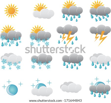 Meteorological weather icons.