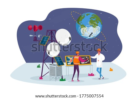 Meteorologist Characters on Meteo Station near Transmission Tower with Satellite on Earth Orbit. Meteorology Equipment, n Services and Technologies, Tech Progress. Cartoon People Vector Illustration Foto stock ©