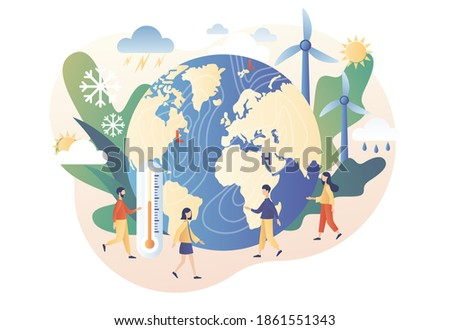 Meteorology science. World Meteorological day. Tiny people meteorologists studying and researching weather and climate condition. Modern flat cartoon style. Vector illustration on white background Foto stock ©