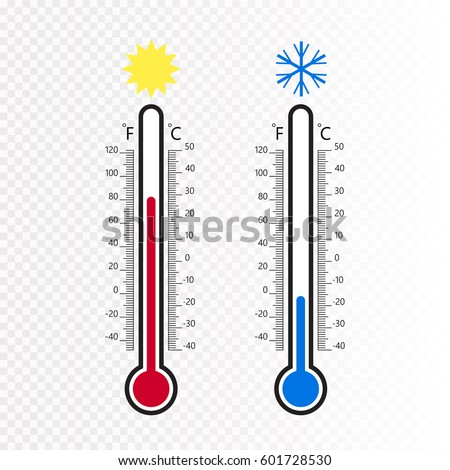 Meteorology thermometers isolated. Cold and heat temperature. Vector illustration. Celsius and fahrenheit