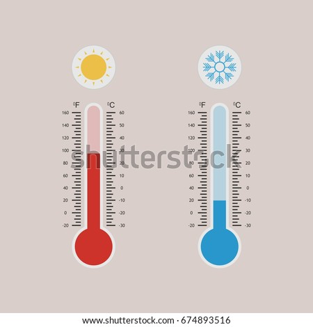 Meteorology thermometers measuring heat and cold, with sun and snowflake icons. Celsius and Fahrenheit. Thermometer equipment showing hot or cold weather. Vector illustration