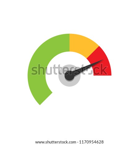 Meter dashboard icon in flat style. Credit score indicator level vector illustration on white isolated background. Gauges with measure scale business concept.